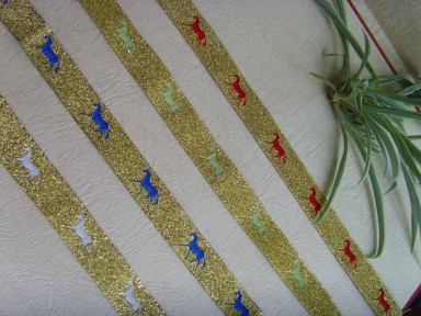 metallic gold damask horse ribbons