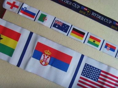 world flags damask ribbons