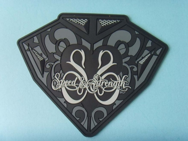 irregular shape large rubber badges
