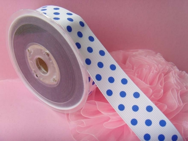 Print White dots Grosgrain Ribbon
