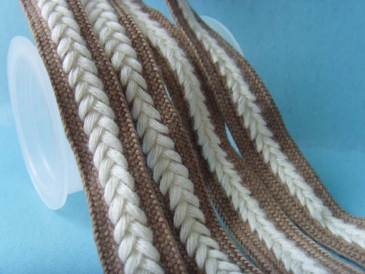 two colours cotton flat braided ropes