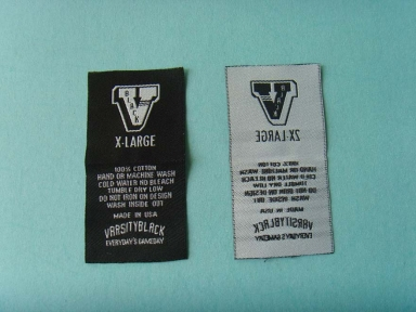 black clothing woven label
