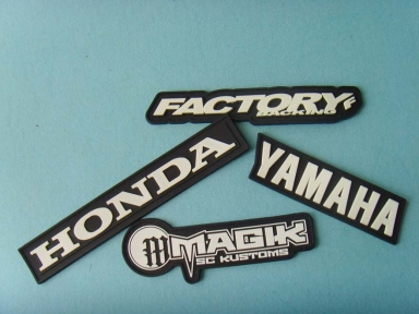 black white motorcycly clothes rubber patch