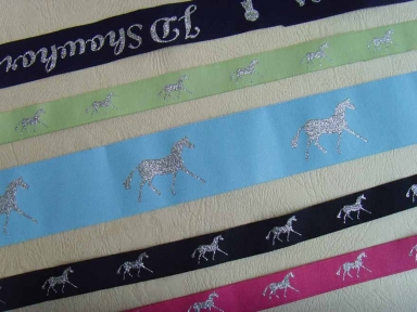 silver damask horse ribbon for horse racing festival