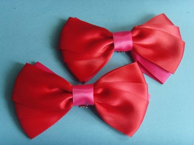 Big size red satin ribbon shoelace bows with metal clips
