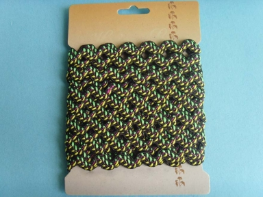 black leaf in green colour polyester ricrac cords