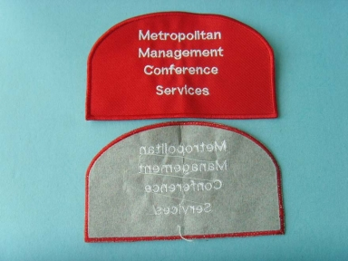 red twill background nylon embroidery patch with padding backing