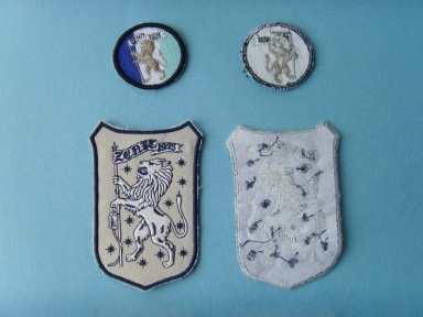 till background lion embroidery patch with padding backing
