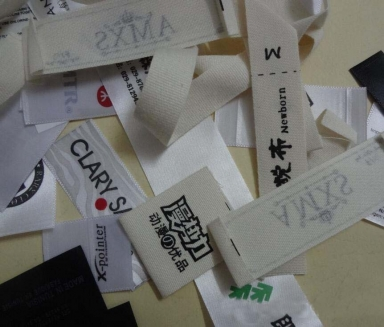 pinted cotton and satin labels for clothes