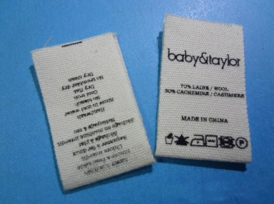 custom center fold printed label for garment