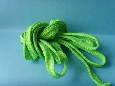 1cm width polyester hollow flat rope in cyan colour