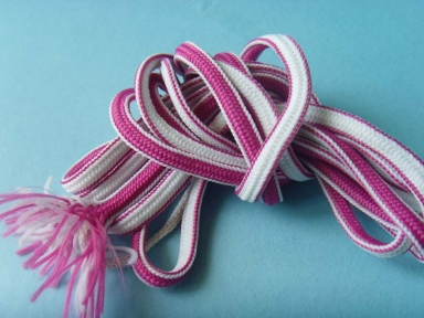 6mm polyester oval rope in pink color