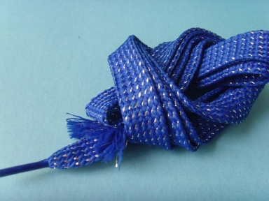 blue metaillic flat braid cord for shoes or clothing
