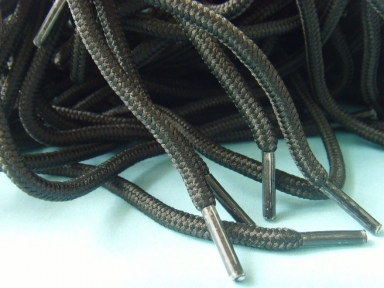 6mm round polyester shoelace in black colour